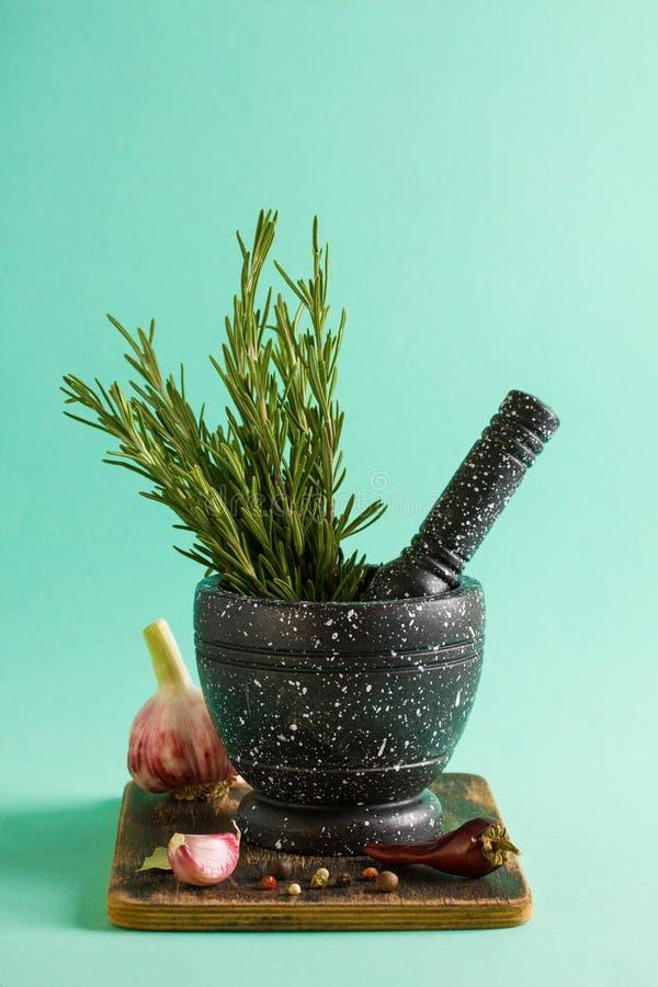 Marmorera mortel och mortelstötar med rosmarinvitlök och peppar royaltyfria bilder