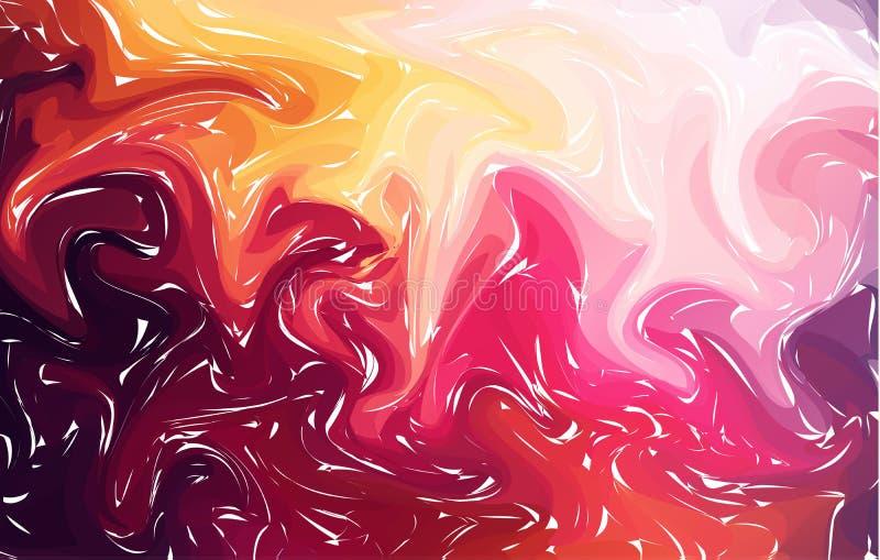 marmorera Röd marmortextur måla färgstänk Färgrik vätska Kulör bakgrund för abstrakt flytande royaltyfri illustrationer