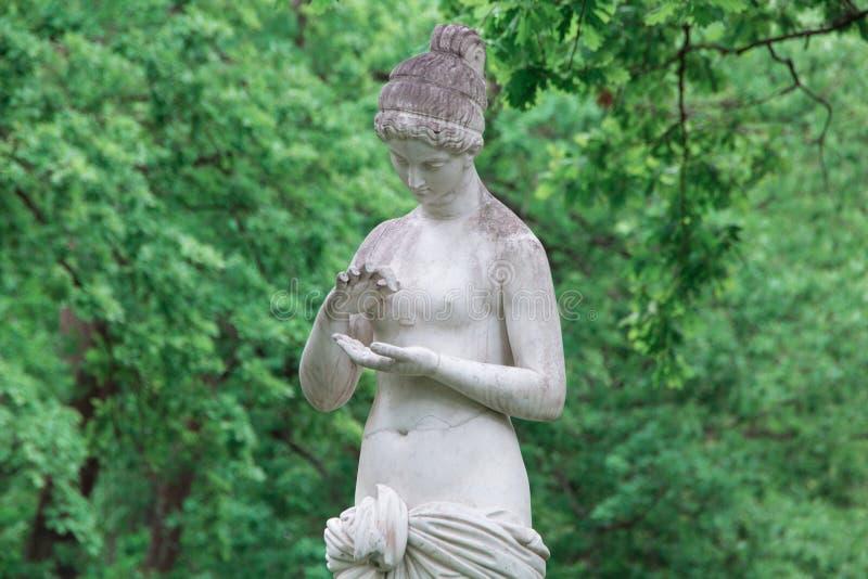 Marmorera skulptur av en ung flicka i det lägre parkerar av Peterhof Peterhof St Petersburg, Ryssland arkivbilder