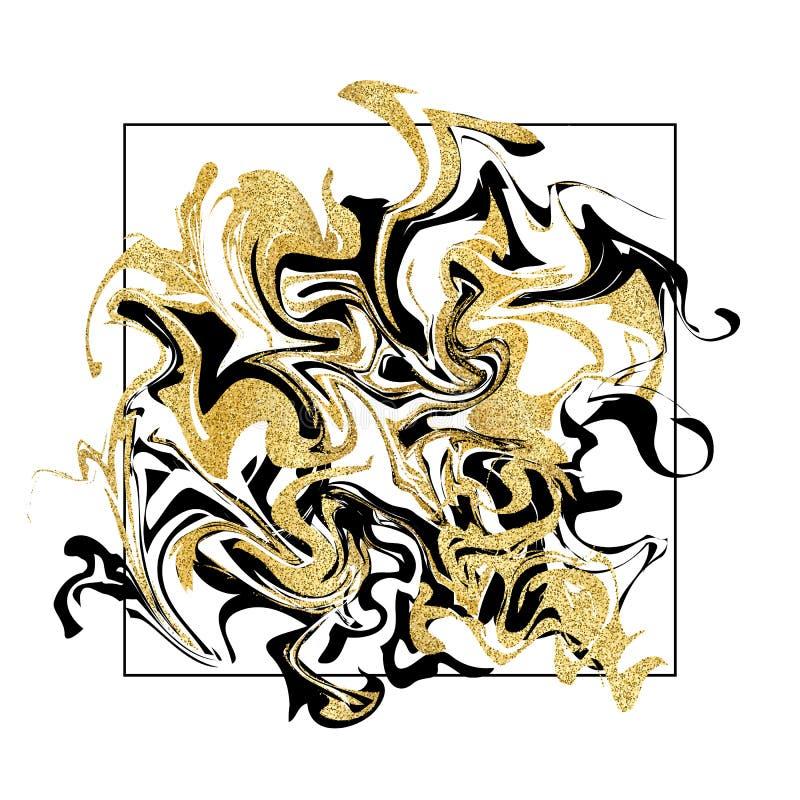 Marmorera texturbakgrund Guld- blänka marmorbanret på vit royaltyfri illustrationer
