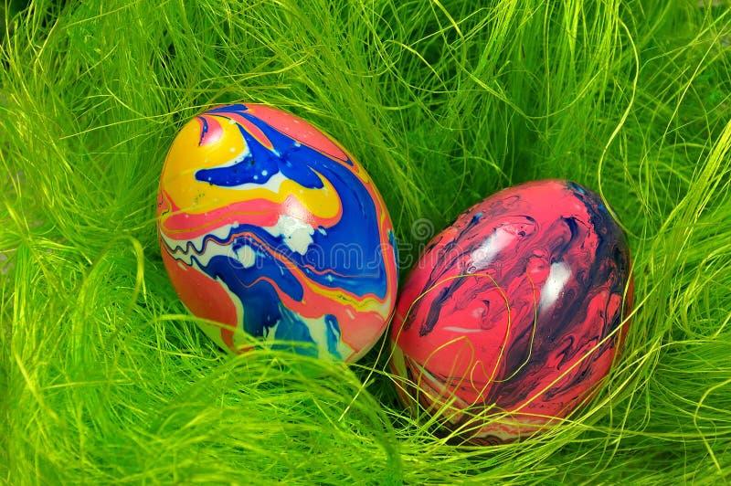 Marmorerade ägg i grönt rede fotografering för bildbyråer