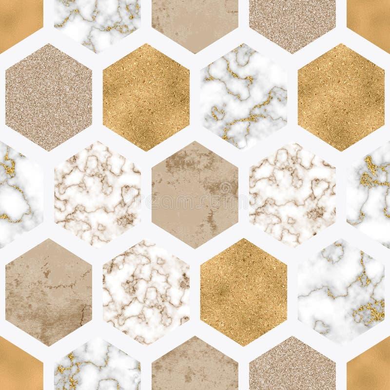 Marmorerar den sömlösa modellen för sexhörningen med digitalt papper, skinande guld- folie, försilvrar blänker textur stock illustrationer