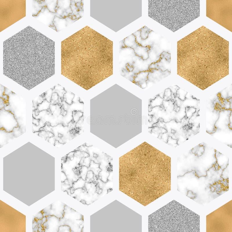 Marmorerar den s?ml?sa modellen f?r sexh?rningen med digitalt papper, skinande guld- folie, f?rsilvrar bl?nker textur vektor illustrationer