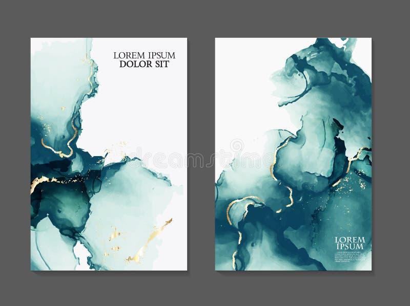 Marmorkartendarstellung, Flieger, Einladungskarten-Schablonenentwurf, grüne, blaue zarte Dekoration lokalisiert auf Weiß lizenzfreie abbildung