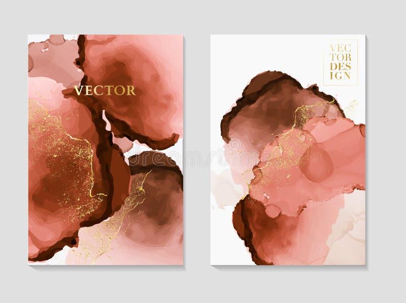 Marmorkartenhochzeitseinladungskarten-Schablonenentwurf, rosa zarte Dekoration lokalisiert auf weißem Hintergrund, Weinleseart stock abbildung