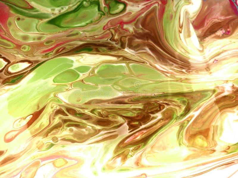 Marmornde Farbenbeschaffenheit der Flüssigkeit Schmutzacrylflecke Flüssige Kunst Gelbe, braune, grüne Farbenmischungspinselstrich stock abbildung