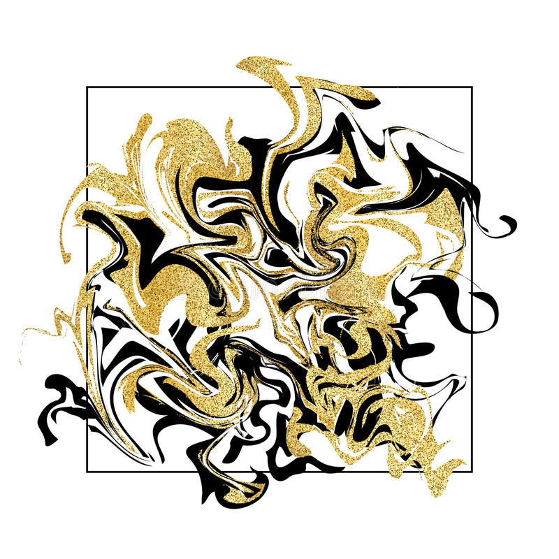 Marmornder Beschaffenheitshintergrund Goldene Funkelnmarmorfahne auf Weiß lizenzfreie abbildung