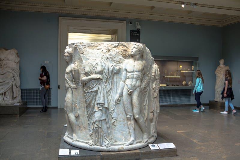 Marmorsäuletrommel schnitzte im Hochrelief, vom zweiten Tempel der Artemis bei Ephesus stockbilder