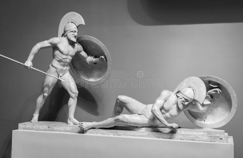 Marmorskulptur av grekiska krigare royaltyfria bilder