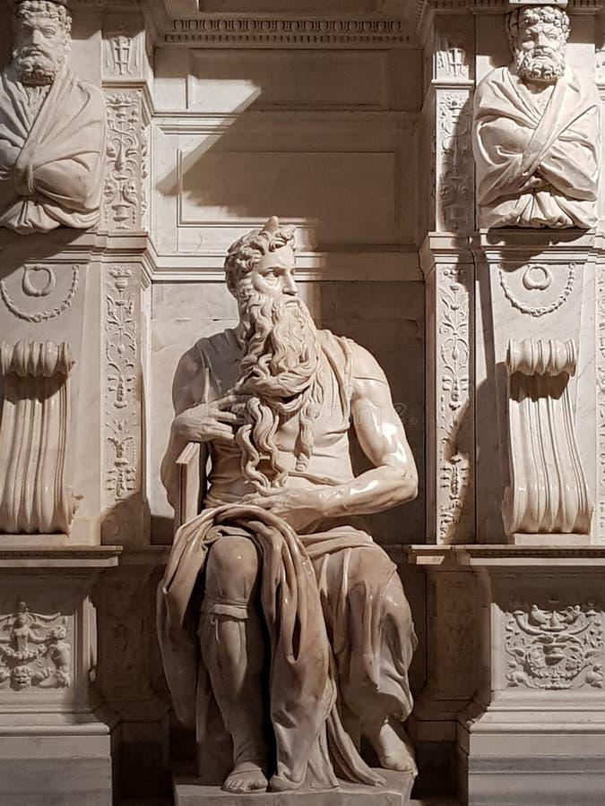 Marmorstaty av Moses i kyrkan av San Pietro i Vincoli royaltyfri fotografi