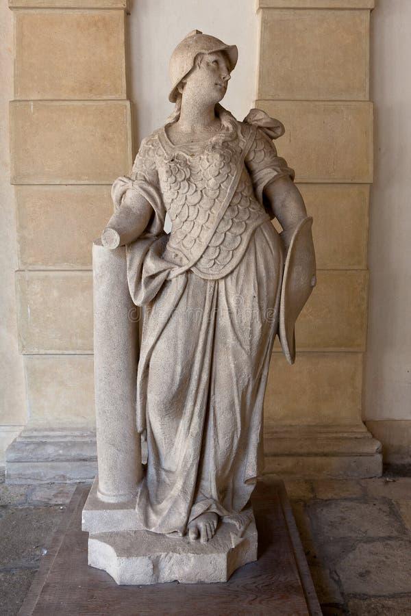 Marmorstaty Pallas Athena Villa Pisani, Stra, Veneto, Italien arkivfoton