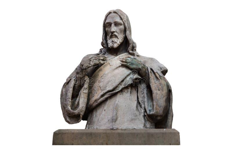 Marmorstatyn av Jesus Christ isolerade på vitt med urklippbanan royaltyfria bilder