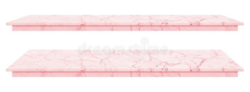 Marmortabellen, att kontra bästa rosa yttersida, stentjock skiva för skärmprodukter som isoleras på vit bakgrund, har den snabba  royaltyfria foton