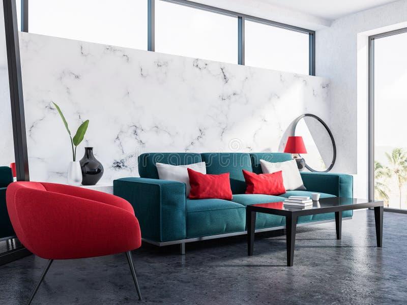 Marmorwohnzimmer, blaues Sofa, roter Lehnsessel vektor abbildung