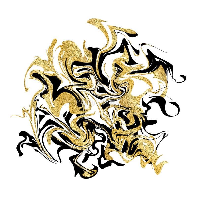 Marmoryzaci tekstury tło Złoty błyskotliwość marmuru sztandar odizolowywający na bielu Abstrakcjonistyczny marmoryzacja projekt d royalty ilustracja