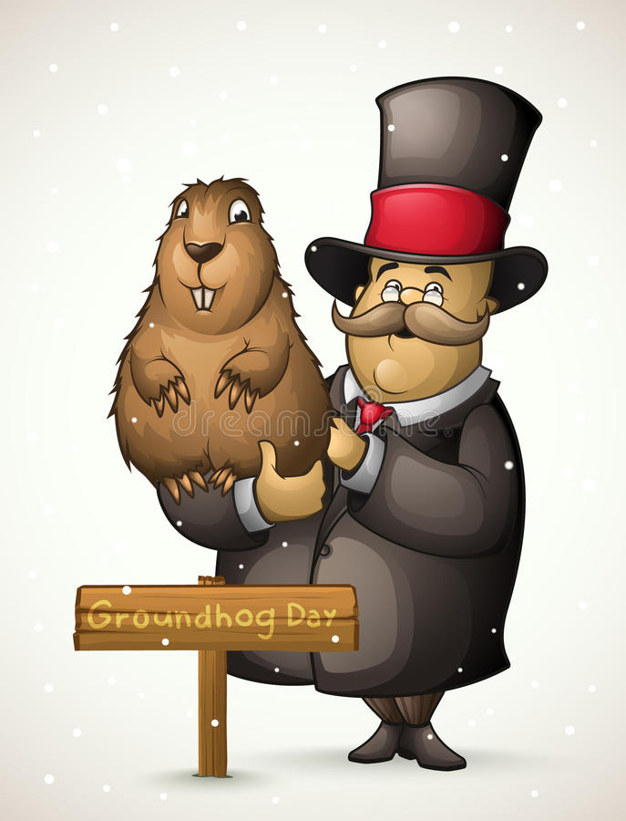 Marmot and man on Groundhog Day stock illustration
