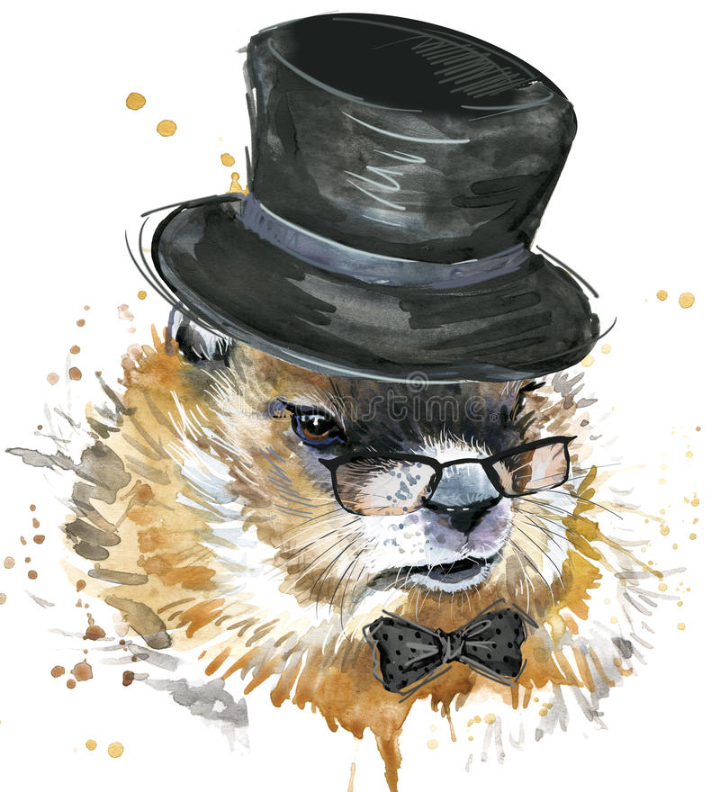 Marmot watercolor. Groundhog Day. stock illustration