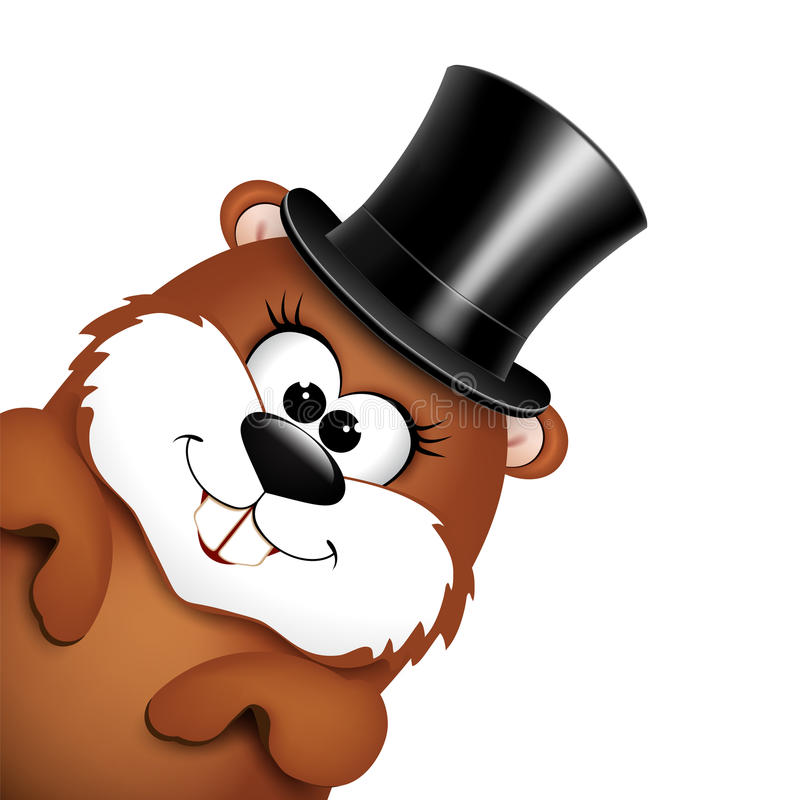 Marmota divertida en sombrero en un fondo blanco stock de ilustración