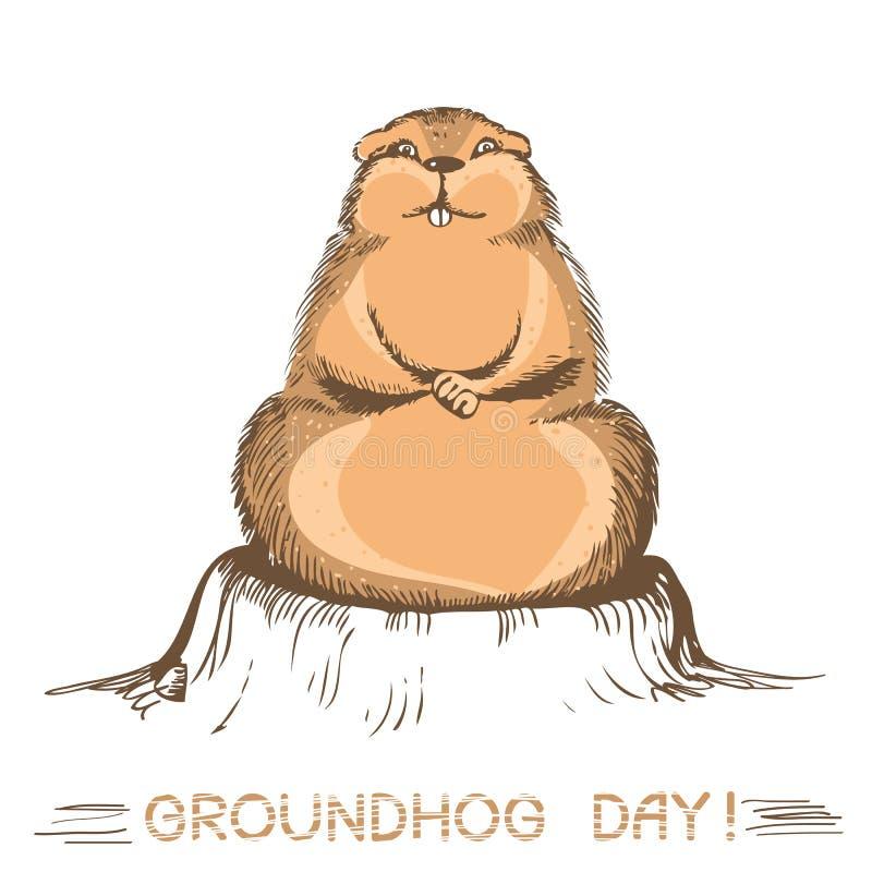 Marmotta di giorno della marmotta Illustrazione di vettore su bianco illustrazione vettoriale