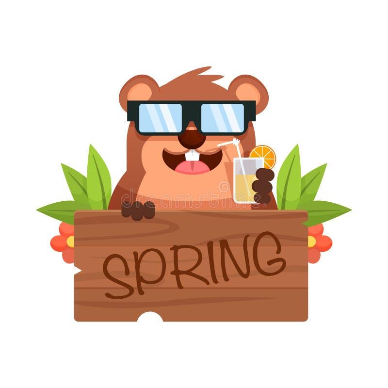 Marmotta in occhiali da sole che tengono piatto di legno con il testo, le foglie ed i fiori della molla Illustrazione di vettore  illustrazione di stock