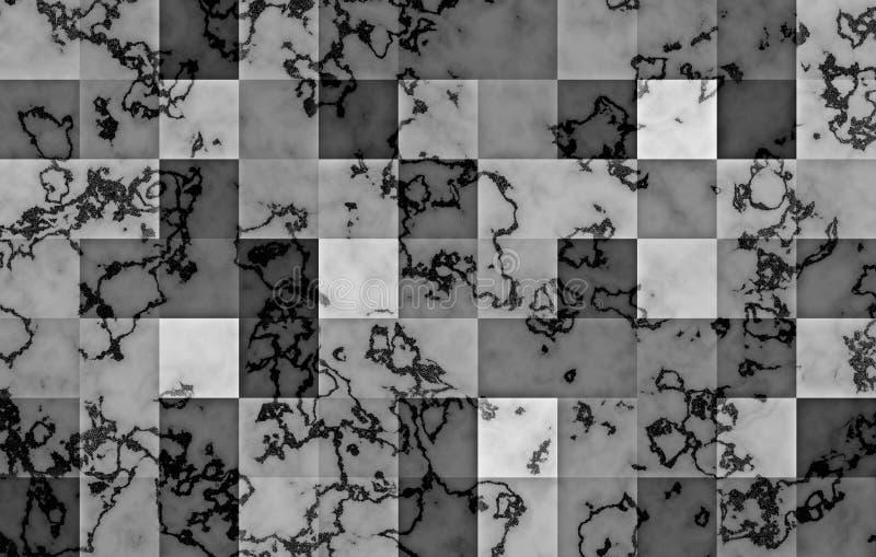 Marmur textured z gradientowymi geometrycznymi kwadratowymi blokami Naturalni czarni, srebni zawijasy i abstrakcyjny tło ilustracji
