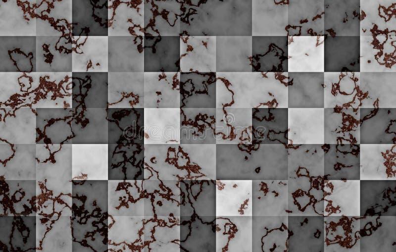 Marmur textured z gradientowymi geometrycznymi kwadratowymi blokami Naturalny czarny i złoto wirujemy i pluskoczemy na popielatym royalty ilustracja