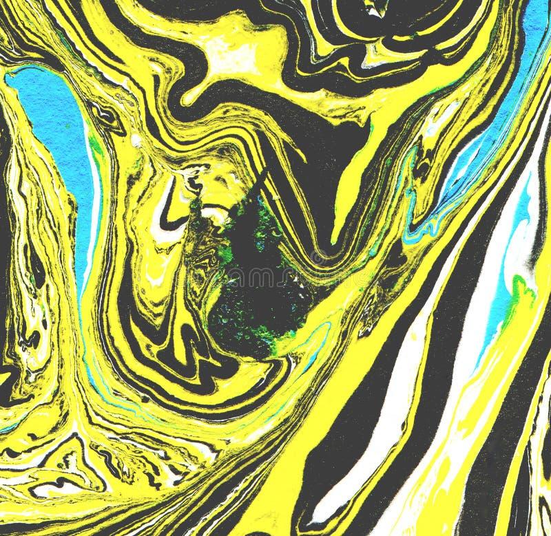 Marmurkowata papierowa tekstura Handmade tło Czerni i koloru żółtego kolory Marmurowy tło ilustracja wektor