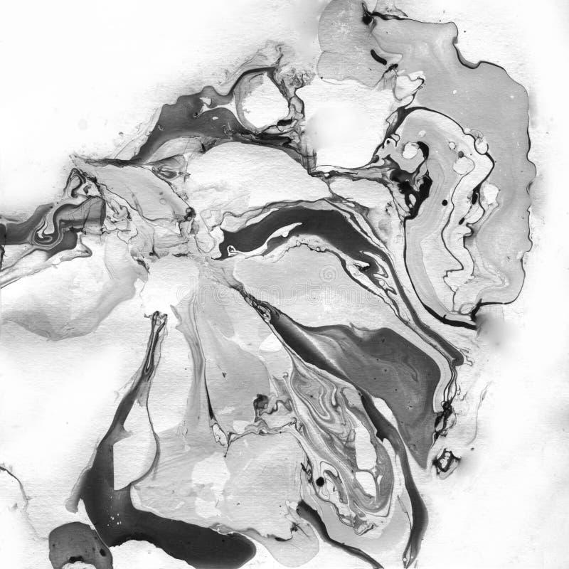 Marmurkowaty Czarny I Biały Abstrakcjonistyczny tło Ciecz Marmurowy Illistration ilustracja wektor