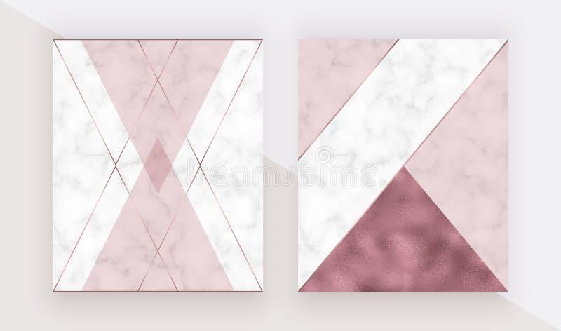 Marmurowa geometrycznego projekta pokrywa z różowy trójgraniastym, róży złocistej folii tekstura, poligonalne linie Nowożytny tło ilustracji