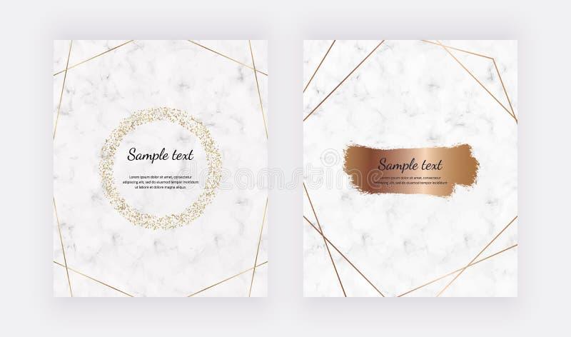 Marmurowe projekt karty z złotymi okregów confetti obramiają i szczotkują uderzenia różane złoto linie Modni szablony dla sztanda royalty ilustracja