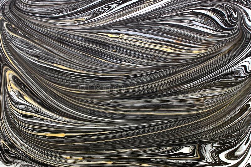 Marmurowej atramentu wzoru tekstury tła czerni abstrakcjonistyczny złoto i biel tonujemy zdjęcia stock