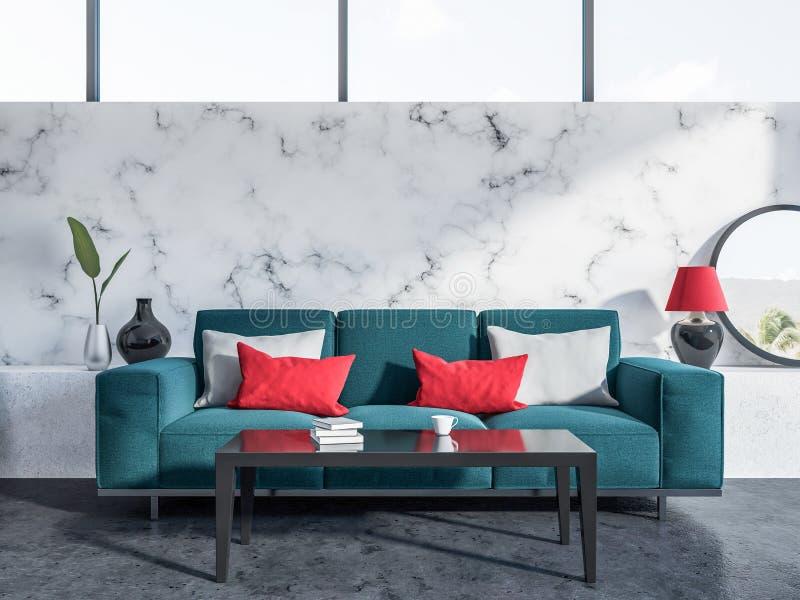 Marmurowy żywy pokój, błękitna kanapa royalty ilustracja
