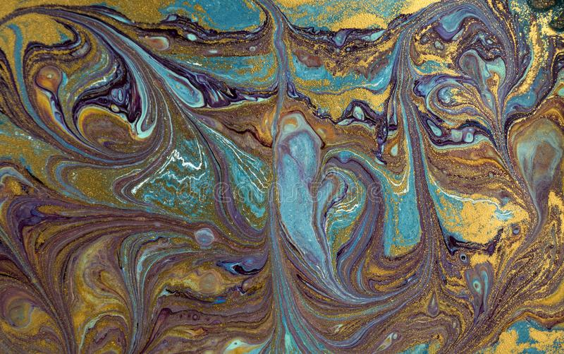 Marmurowy abstrakcjonistyczny akrylowy tło Błękitna marmoryzaci grafiki tekstura Agat czochry wzór Złoto proszek obraz stock