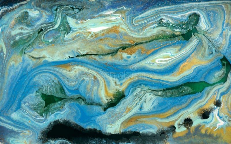 Marmurowy abstrakcjonistyczny akrylowy tło Błękitna marmoryzaci grafiki tekstura Agat czochry wzór Złoto proszek obraz royalty free