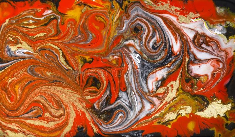Marmurowy abstrakcjonistyczny akrylowy tło Czerwona marmoryzaci grafiki tekstura Agat czochry wzór Złoto proszek fotografia stock