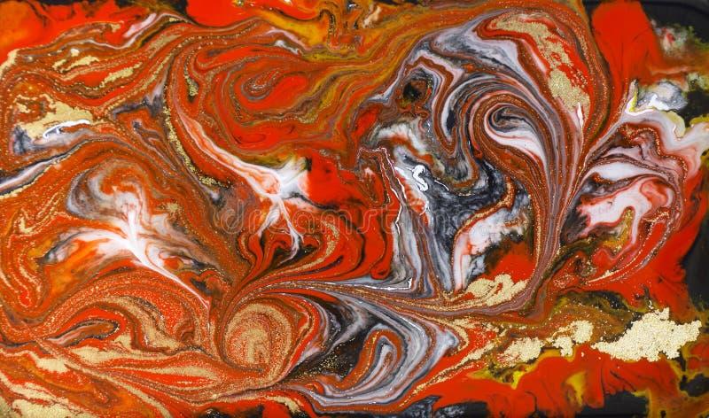 Marmurowy abstrakcjonistyczny akrylowy tło Czerwona marmoryzaci grafiki tekstura Agat czochry wzór Złoto proszek fotografia royalty free