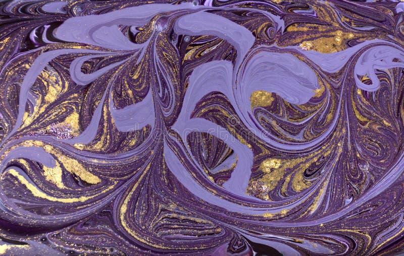 Marmurowy abstrakcjonistyczny akrylowy tło Fiołkowa marmoryzaci grafiki tekstura Marmurkowaty czochra wzór obrazy royalty free