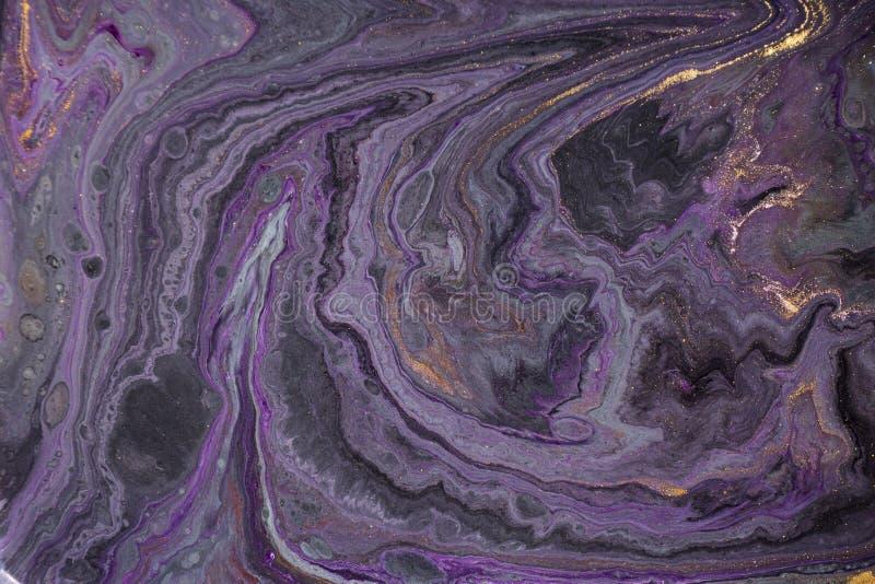Marmurowy abstrakcjonistyczny akrylowy tło Marmoryzaci grafiki tekstura Agat czochry wzór Złoto proszek obraz stock