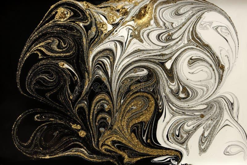 Marmurowy abstrakcjonistyczny akrylowy tło Marmoryzaci grafiki tekstura Agat czochry wzór Złoto proszek zdjęcia royalty free