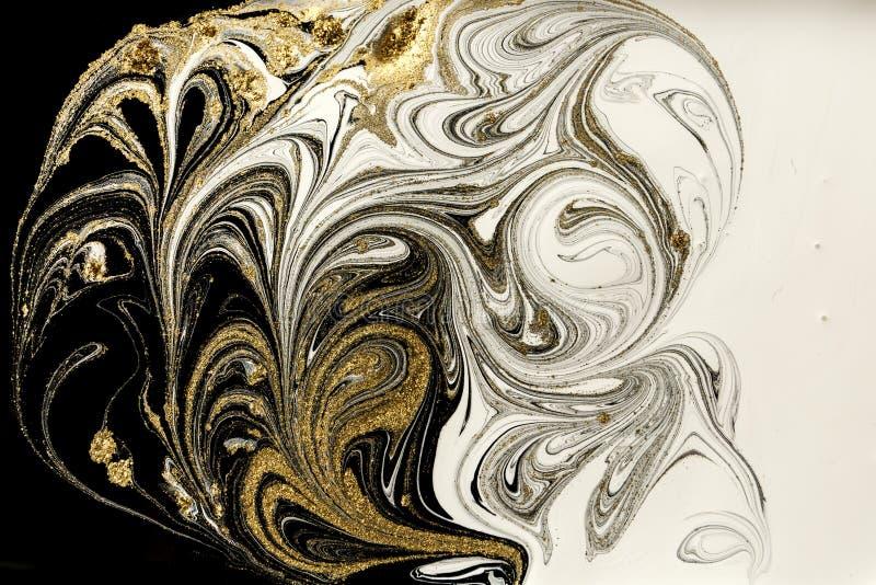 Marmurowy abstrakcjonistyczny akrylowy tło Marmoryzaci grafiki tekstura Agat czochry wzór Złoto proszek zdjęcia stock