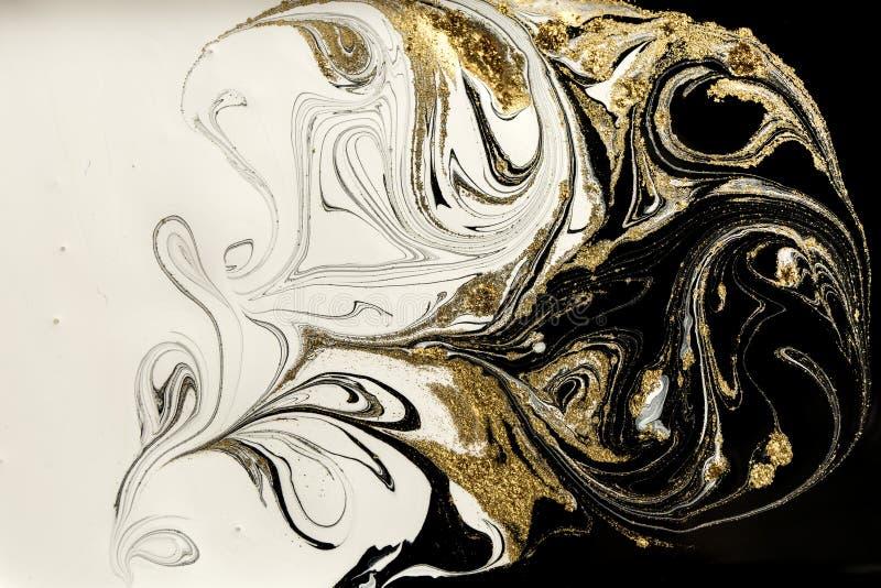 Marmurowy abstrakcjonistyczny akrylowy tło Marmoryzaci grafiki tekstura Agat czochry wzór Złoto proszek obrazy stock