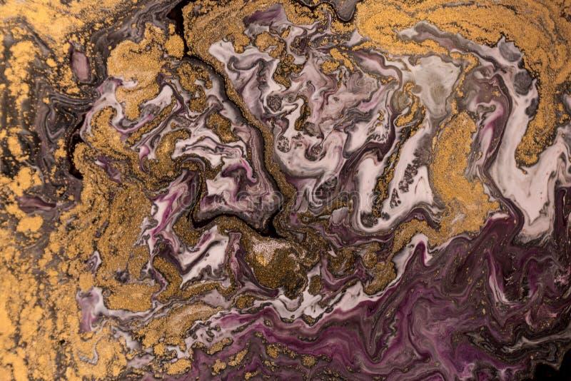 Marmurowy abstrakcjonistyczny akrylowy tło Marmoryzaci grafiki tekstura Agat czochry wzór Złoto proszek zdjęcie stock