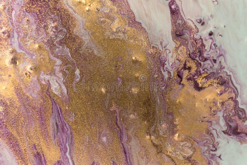 Marmurowy abstrakcjonistyczny akrylowy tło Marmoryzaci grafiki tekstura Agat czochry wzór Złoto proszek obrazy royalty free