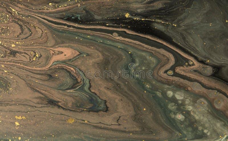 Marmurowy abstrakcjonistyczny akrylowy tło Marmoryzaci grafiki tekstura Agat czochry wzór Złoto proszek fotografia royalty free
