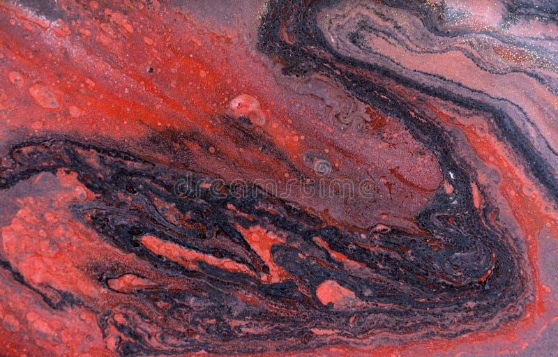 Marmurowy abstrakcjonistyczny akrylowy tło Różowa i błękitna marmoryzaci grafiki tekstura Agat czochry wzór Złoto proszek obrazy stock