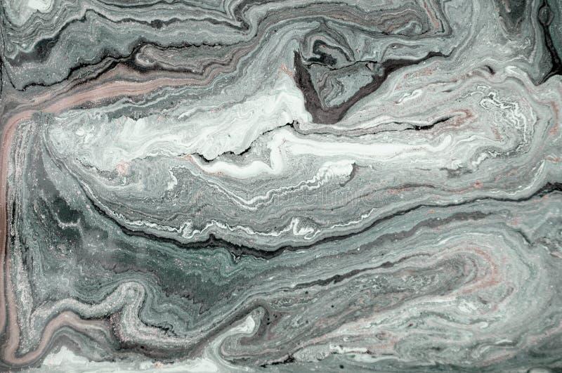 Marmurowy abstrakcjonistyczny akrylowy tło Zielona marmoryzaci grafiki tekstura Agat czochry wzór Złoto proszek fotografia stock