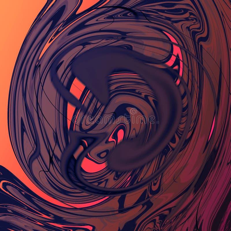Marmurowy ciekły abstrakcjonistyczny tło z obraz olejny smugami ilustracja wektor
