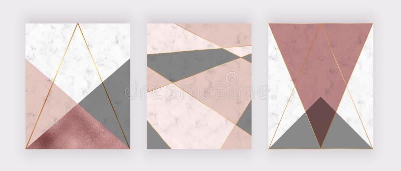 Marmurowy geometryczny projekt z menchiami i popielaty trójgraniastym, róży złocistej folii tekstura, poligonalne linie Nowożytny royalty ilustracja