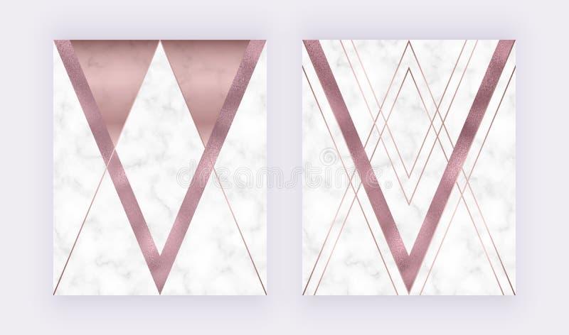 Marmurowy geometryczny projekt z menchiami i popielaty tr?jgraniastym, r??y z?ocistej folii tekstura, poligonalne linie Nowo?ytny royalty ilustracja