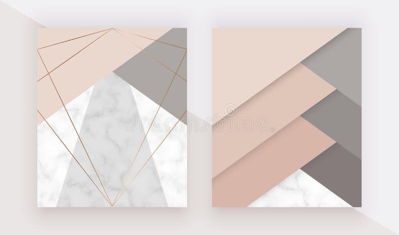 Marmurowy geometryczny projekt z trójgraniastymi, złocistymi poligonalnymi liniami, Nowożytny tło dla ślubnego zaproszenia, sztan ilustracja wektor